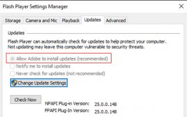 How to enable automatic Flash Player updates on Windows