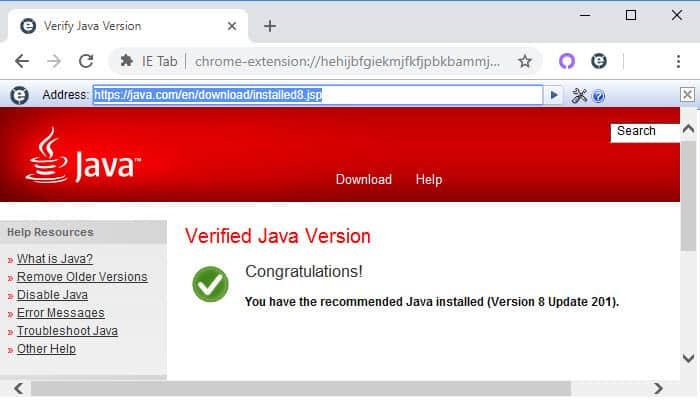 Java support on Windows 10