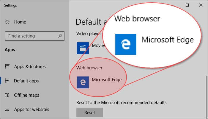 Change the default browser in Windows 10