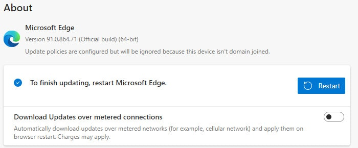 To finish updating, restart Microsoft Edge
